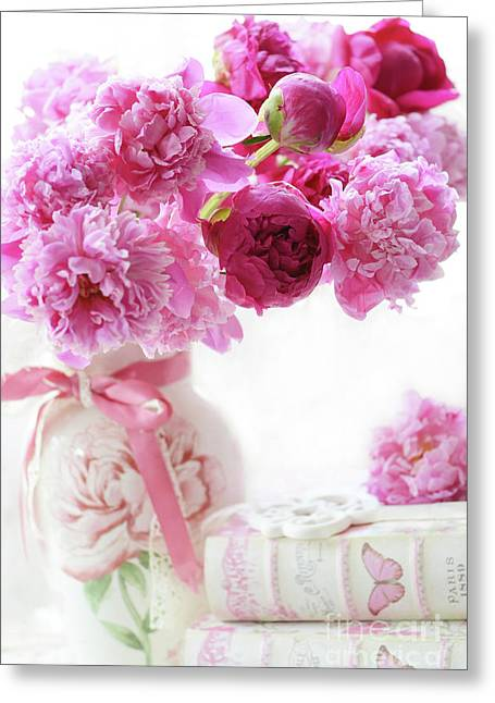 Shabby Chic Romantic Pink And Red Peonies - Peonies Romantic Floral Decor Greeting Card by Kathy Fornal