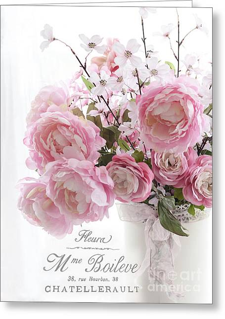Flower Photos Greeting Cards - Shabby Chic Romantic Pink Pastel Peonies With French Script - Paris French Pink Peonies In Vase Greeting Card by Kathy Fornal