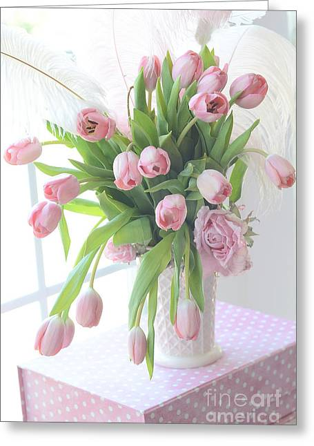 Cottages Photographs Greeting Cards - Shabby Chic Romantic Pink Tulips In Vase - Dreamy Cottage Pastel Pink Tulips  Greeting Card by Kathy Fornal