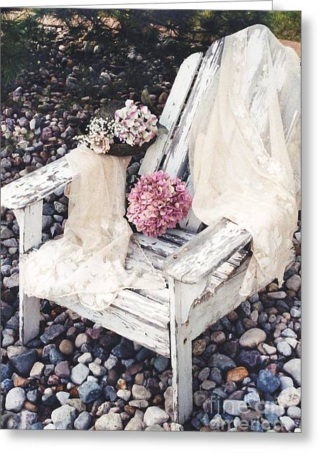 Shabby Chic Romantic White Adirondac Vintage Garden Chair Greeting Card by Kathy Fornal