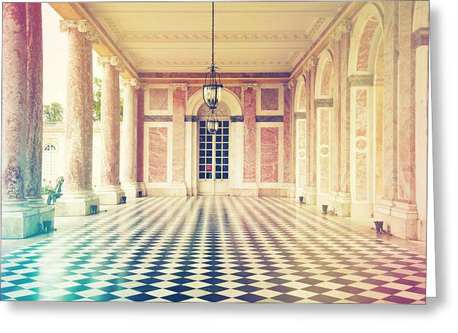 Trianon Greeting Cards - Shabby chic Versailles columns of Grand Trianon Greeting Card by Sandra Rugina