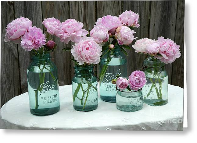 Shabby Cottage Pink Peonies In Aqua Blue Mason Ball Jars - Summer Garden Pink Peonies Decor Greeting Card by Kathy Fornal