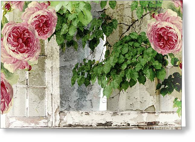 Shabby Cottage Window Greeting Card by Mindy Sommers
