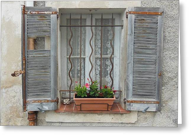 French Window Greeting Cards - Shabby Elegant Window Greeting Card by Marilyn Dunlap