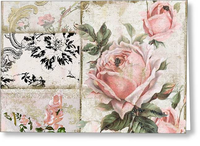 Tea Rose Greeting Cards - Shabby Pink Tea Roses Greeting Card by Mindy Sommers