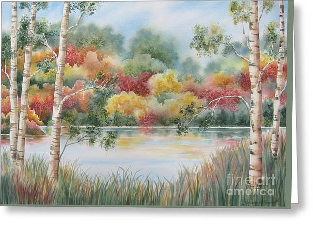 Birch Tree Greeting Cards - Shades of Autumn Greeting Card by Deborah Ronglien