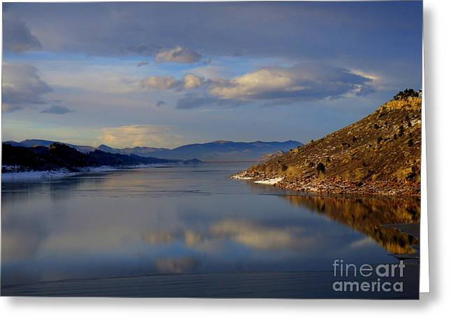 Shades Of Lake Sunsets - 3 Greeting Card by Diane M Dittus