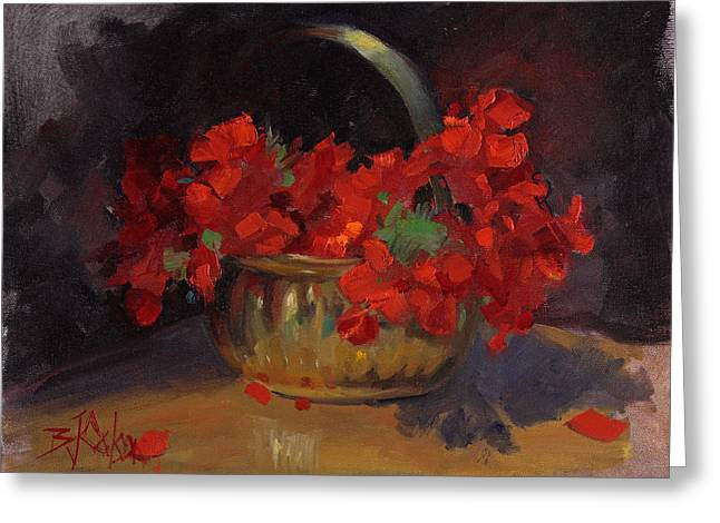 Red Geraniums Paintings Greeting Cards - Shades of Red Greeting Card by Billie Colson