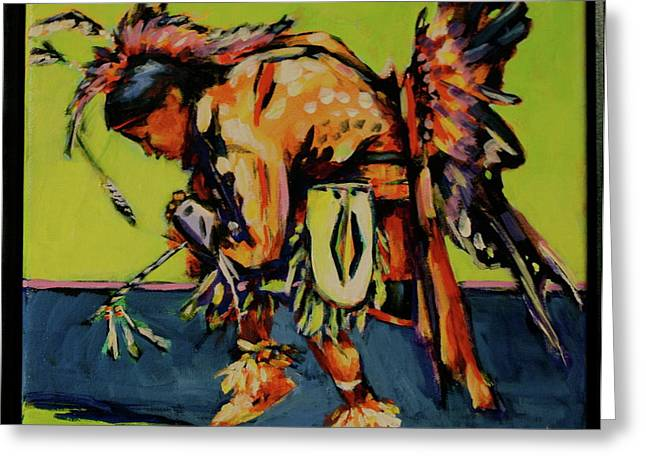 Fancy-dancer Paintings Greeting Cards - Shadow Dancer Greeting Card by Chris Riley