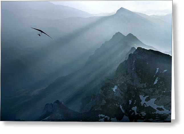 Flying Greeting Cards - Shadow Dancer Greeting Card by Matjaz Cater