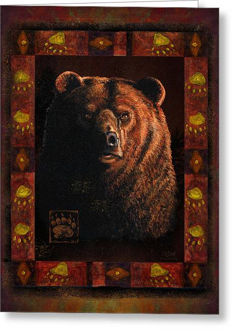Hunting Cabin Greeting Cards - Shadow Grizzly Greeting Card by JQ Licensing