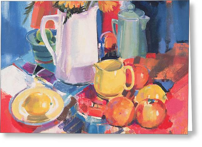 Blue And Red Paintings Greeting Cards - Shadow Line Greeting Card by Peter Graham
