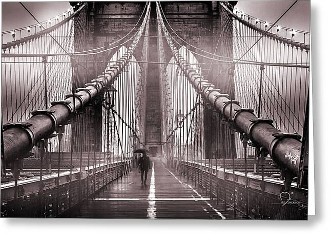 New York City Skyline Photographs Greeting Cards - Shadow Man Greeting Card by Az Jackson