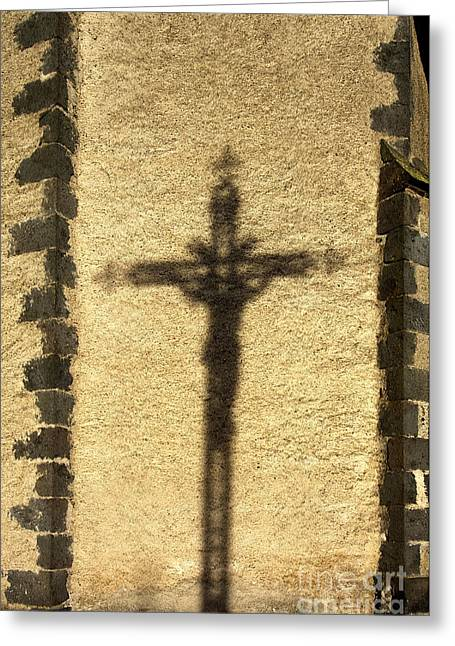 Crucifix Greeting Cards - Shadow of a cross on a wall. Greeting Card by Bernard Jaubert