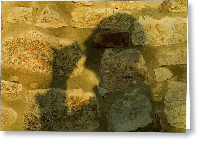 Chianti Greeting Cards - Shadow Of A Man Cast On The Stone Wall Greeting Card by Todd Gipstein