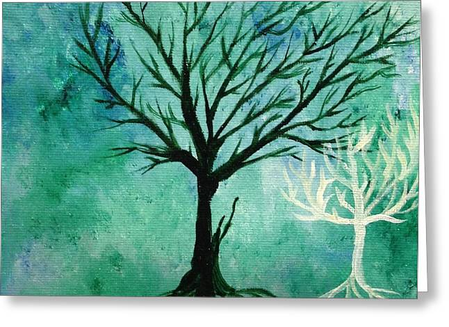 Tree Roots Paintings Greeting Cards - Shadow of Life Greeting Card by Mandy Harpt