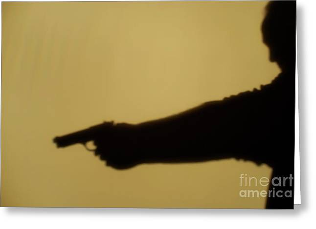Police Officer Greeting Cards - Shadow of man pointing gun Greeting Card by Sami Sarkis