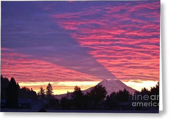 Shadow Of Mount Rainier Greeting Card by Sean Griffin