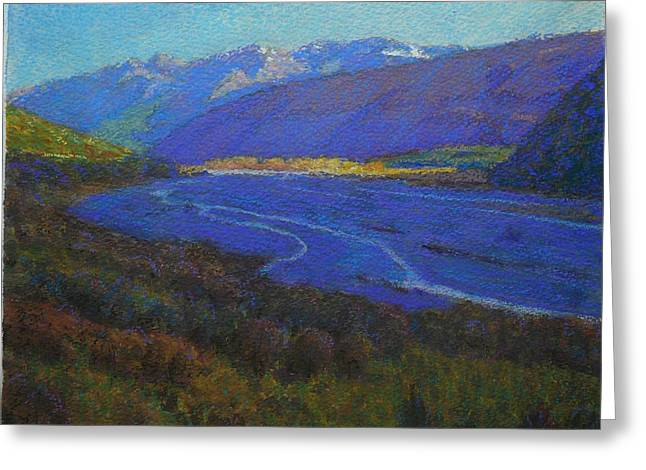 Terry Perham Pastels Greeting Cards - Shadow On The Rees Greeting Card by Terry Perham