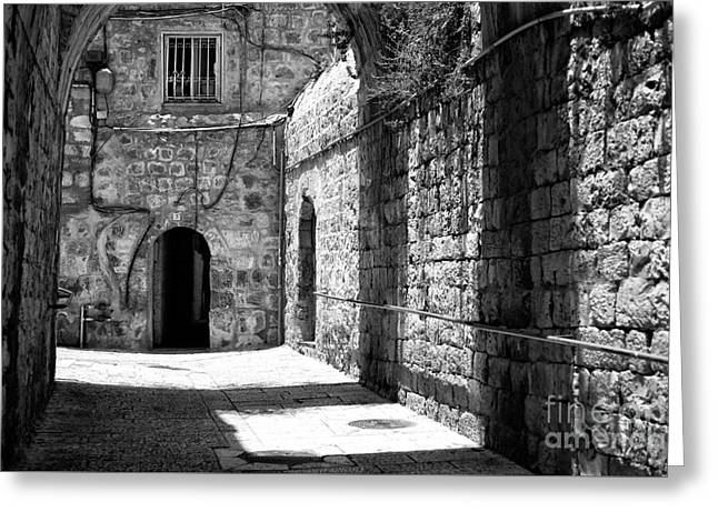 Artist Photographs Greeting Cards - Shadow Patterns in Jerusalem Greeting Card by John Rizzuto