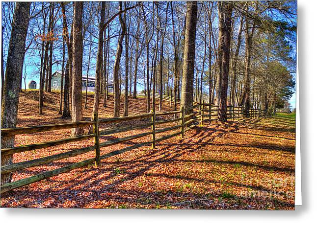 Split Rail Fence Greeting Cards - Shadows in Autumn Greeting Card by Reid Callaway