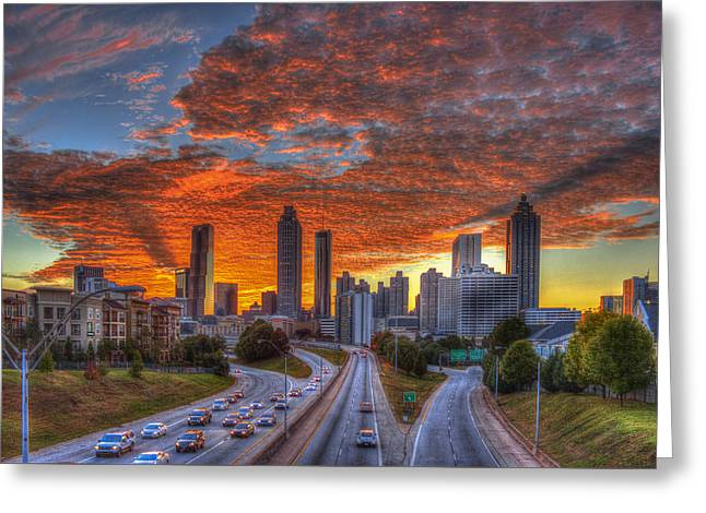 Grady Greeting Cards - Shadows In The Sky Atlanta Downtown Sunset Greeting Card by Reid Callaway