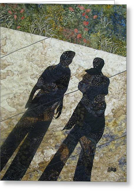People Tapestries - Textiles Greeting Cards - Shadows Greeting Card by Lynda K Boardman