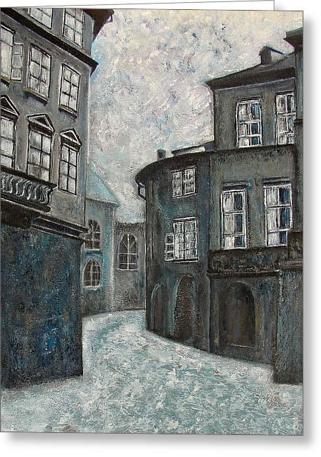 Prague Paintings Greeting Cards - Shadows of  Prague Greeting Card by Erika Morrison