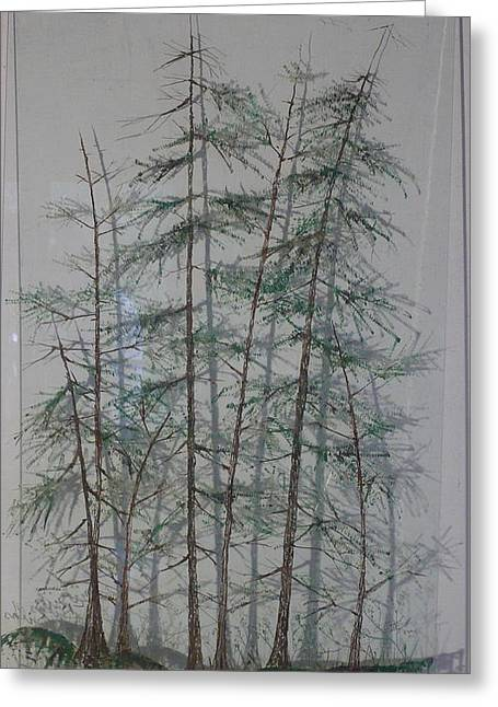 British Columbia Glass Art Greeting Cards - Shadows of the Forest Greeting Card by Rick Silas