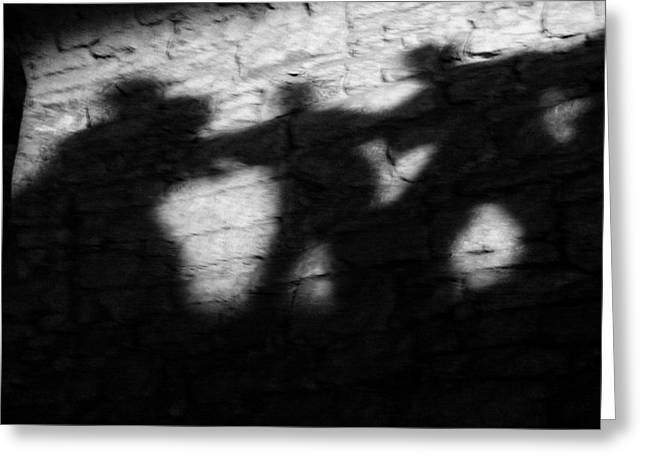 Bw Greeting Cards - Shadows on the Wall of Edinburgh Castle  Greeting Card by Christine Till