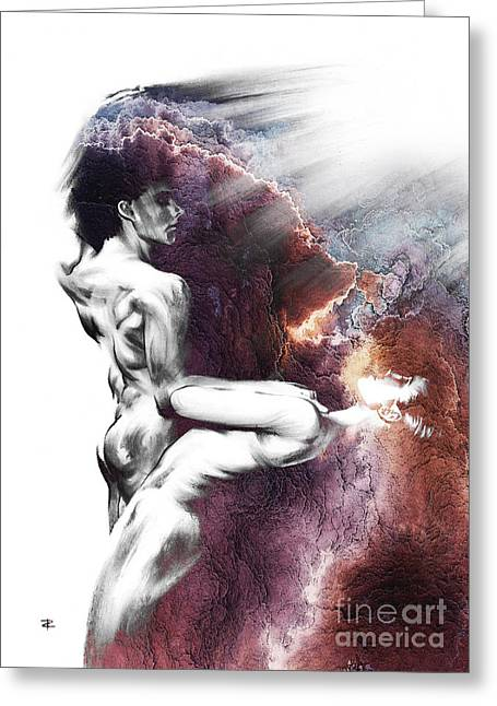 Female Body Greeting Cards - Shadowtwister Formation conte drawing - textured  Greeting Card by Paul Davenport