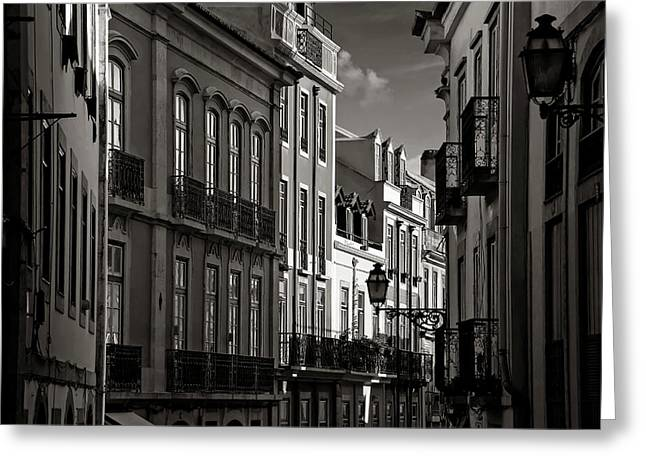 Shadowy Old Lisbon Greeting Card by Carol Japp