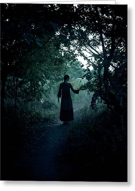 Mystic Photographs Greeting Cards - Shadowy path Greeting Card by Wojciech Zwolinski