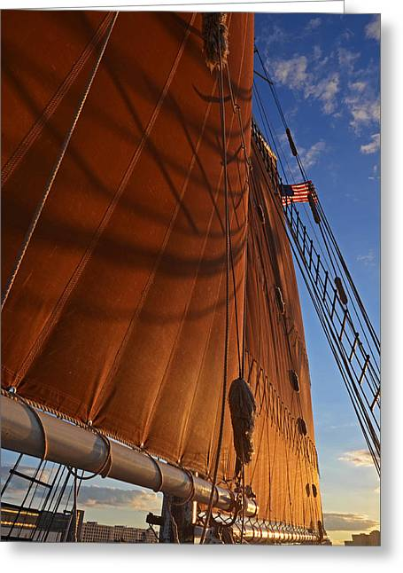 Habor Greeting Cards - Shadowy sails Boston Harbor Sloop Boston MA Greeting Card by Toby McGuire