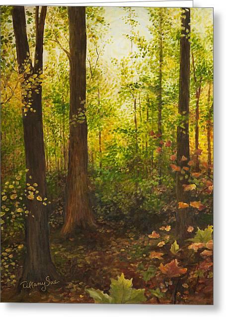 Sacred Grove Greeting Cards - Shady Woodland Greeting Card by Tiffany Sue
