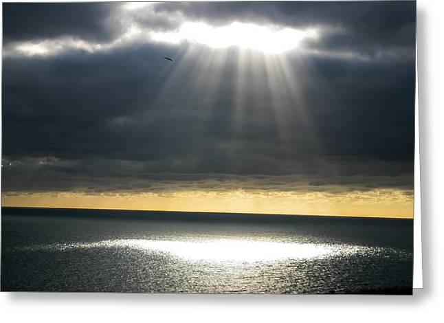 Sun Breaking Through Clouds Greeting Cards - Shaft of Light Greeting Card by Milton Cogheil