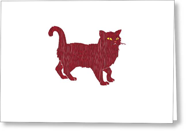 House Pet Greeting Cards - Shaggy Red Cat Greeting Card by David Richard designs