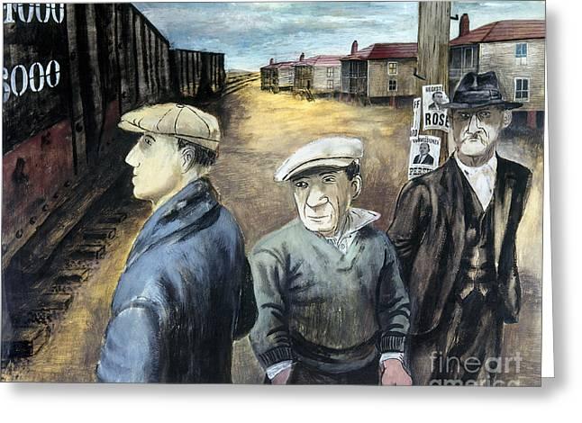 20th Greeting Cards - Shahn: Three Men Greeting Card by Granger
