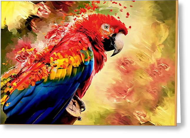 Blue Macaws Greeting Cards - Shake Shake Shake Greeting Card by Georgiana Romanovna