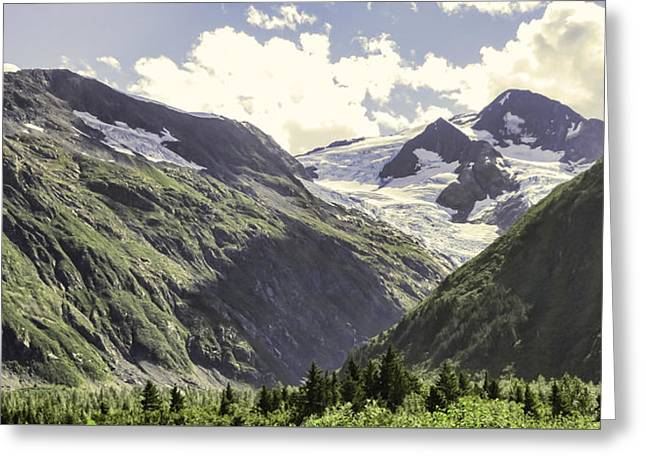 Grey Clouds Greeting Cards - Shakespeare Glacier Greeting Card by Phyllis Taylor