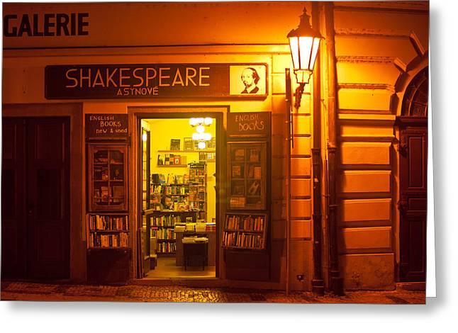 Shakespeares' Bookstore-Prague Greeting Card by John Galbo
