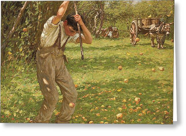 Overalls Greeting Cards - Shaking Down Cider Apples  Greeting Card by Henry Herbert La Thangue