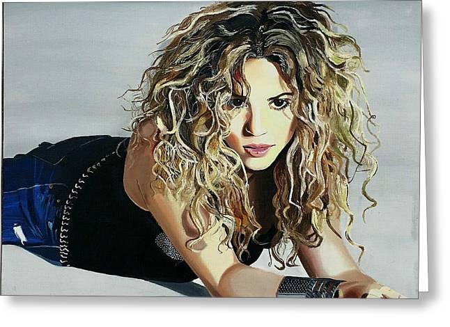 Shakira Paintings Greeting Cards - Shakira  Greeting Card by Gitanjali  Sood