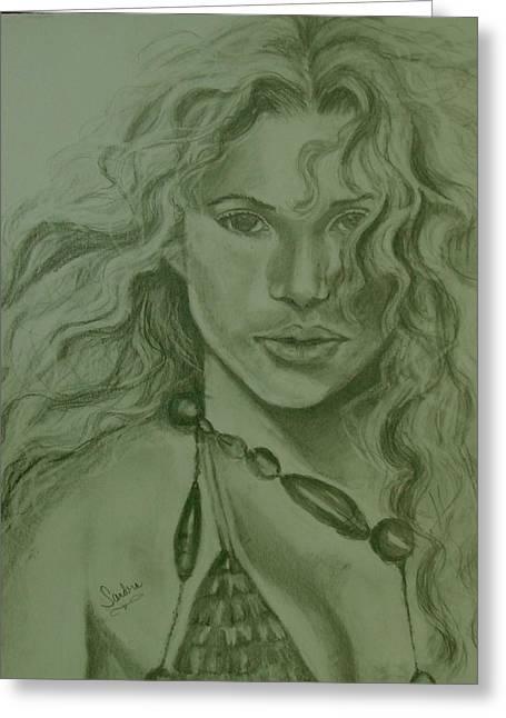 Shakira Greeting Card by Sandra Valentini
