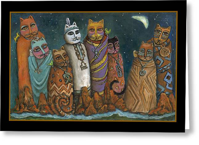 Best Sellers -  - Oak Creek Greeting Cards - Shaman Gathering in Sedona Oak Creek Canyon Greeting Card by Janice Hightower