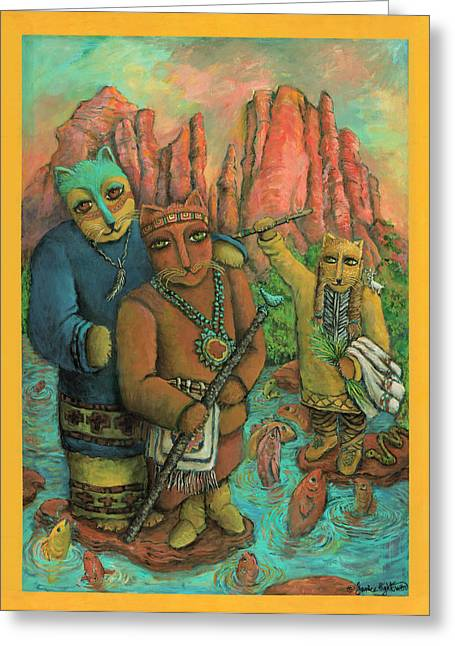Red Rock Crossing Greeting Cards - Shamans of Sedona  Greeting Card by Janice Hightower