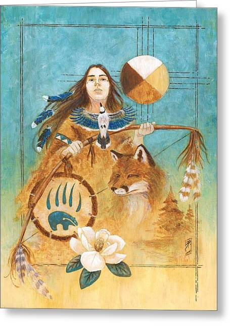 Indigenous Drawings Greeting Cards - Shamans Path Greeting Card by Brandy Woods