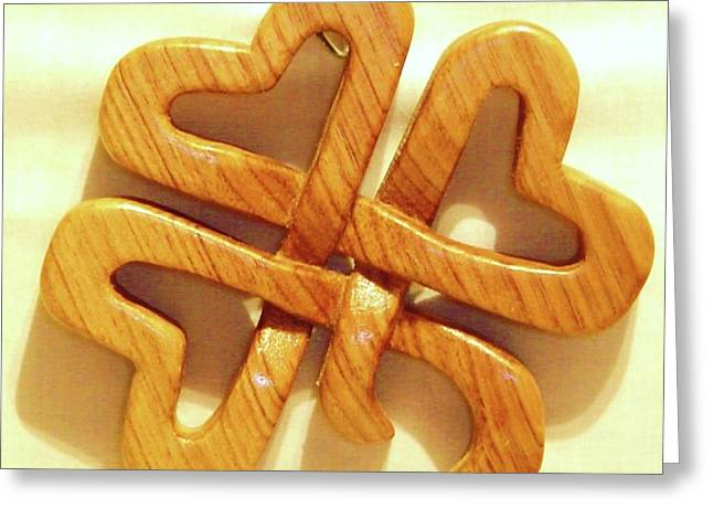 Woodcarving Sculptures Greeting Cards - Shamrock Greeting Card by Russell Ellingsworth