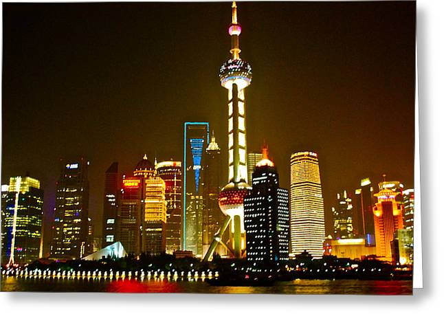 Shanghai by Night Greeting Card by Dorota Nowak