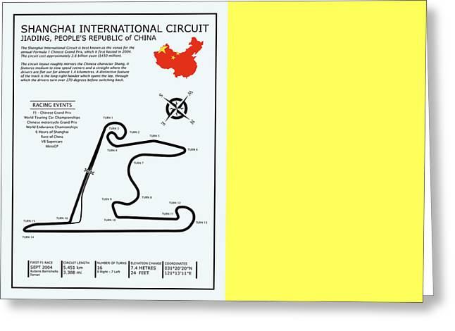 Shanghai Circuit Greeting Card by Mark Rogan